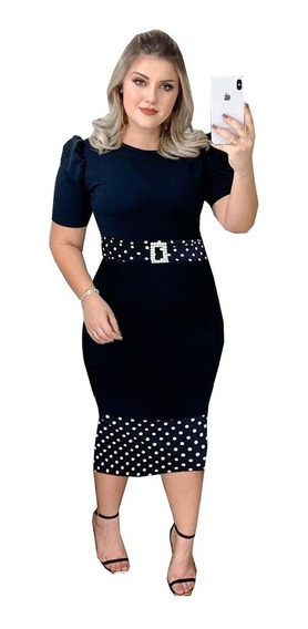 Vestido Feminino Zig Zag Midi Lapis Moda Evangelica