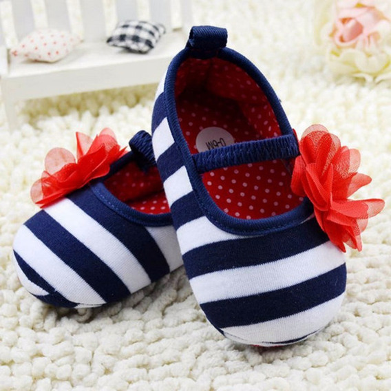 Sapato De Bebê- Listras - Tamanho 16 - De 0 À 6 Meses(11cm)