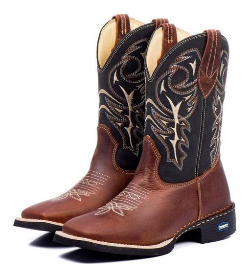 Bota Country Masculina Bico Quadrado Texana 100 % Couro