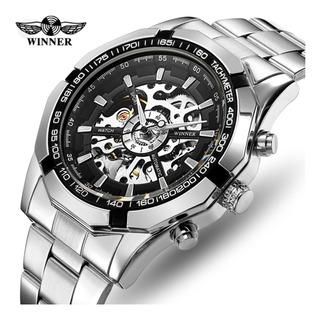 Reloj Hombre Automátic Winner Acero Skeleton 016 Promoción