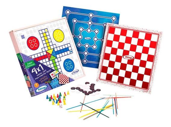 Jogo Educativo 4x1 - Dama, Ludo, Trilha E Pega Varetas