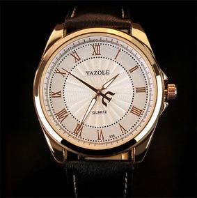 Relógio De Luxo Yazole Pulseira Couro Social Quartz Social