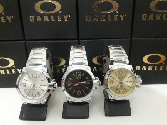 kit C/3 Relógios Oakley C/ Calendário Aço Inoxidável