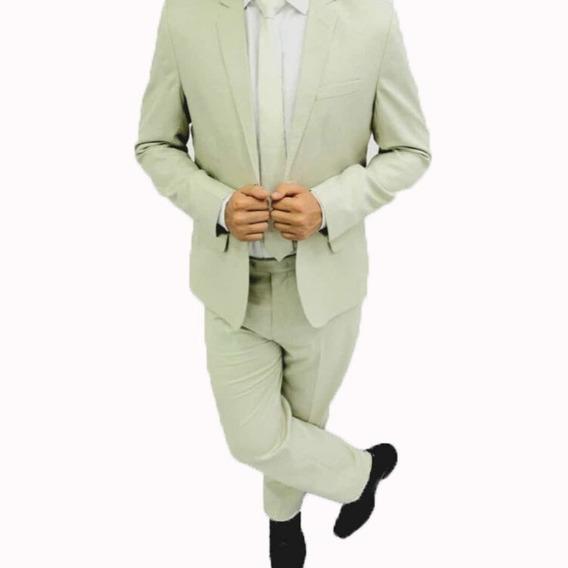 Terno Masculino Slim Poliviscose Verde Claro Lançamento