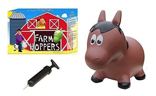 Farm Hoppers Award Winning Inflable Rebotando Caballo Marron