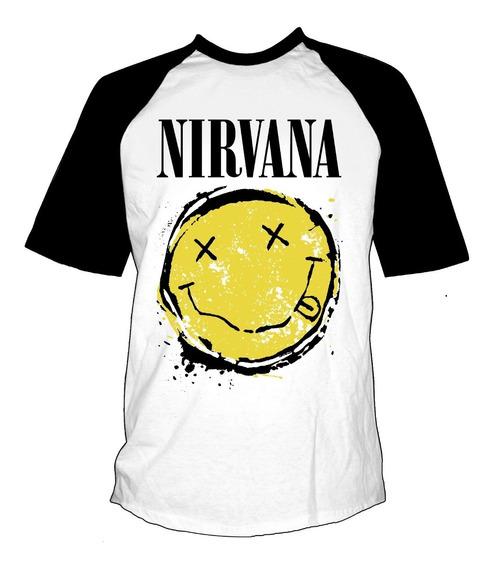 Remera Combinada Nirvana Smiley