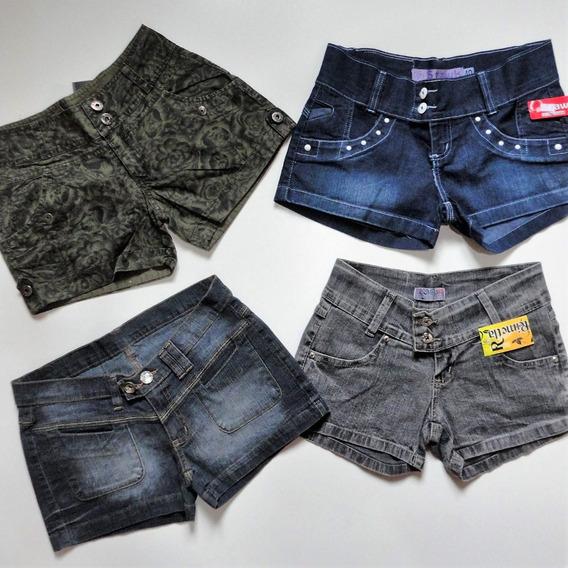 Kit 4 Shorts Jeans Femininos Liquida Estoque Top Verão