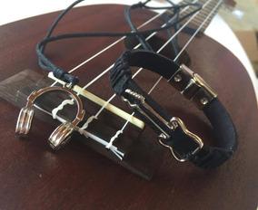 Kit Colar Fone De Ouvido Dj + Pulseira Guitarra Música A134