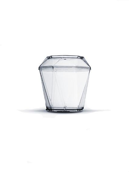 Copo Diamante Acrílico Transparente 180ml C/ Tampa 100un
