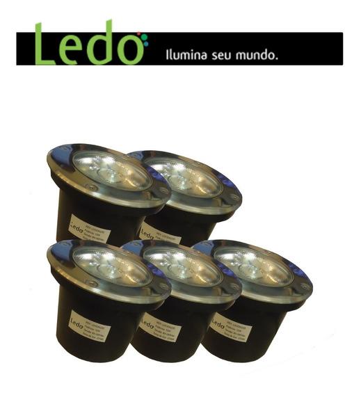 Kit 05 Balizador De Chão 12w Luz Amarela - Ledo