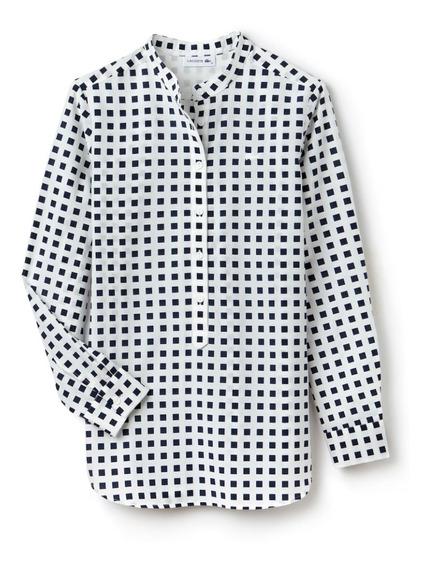 Lacoste, Camisa, Mujer, Cuadrille, Cocodrilo Bordado, Qf2461