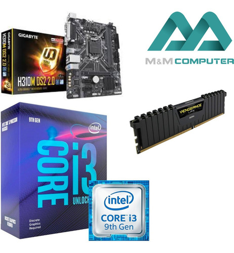 Imagem 1 de 4 de Kit Gamer I3-9350kf + Asrock H310cm-hdv + 8gb Ram 2400mhz