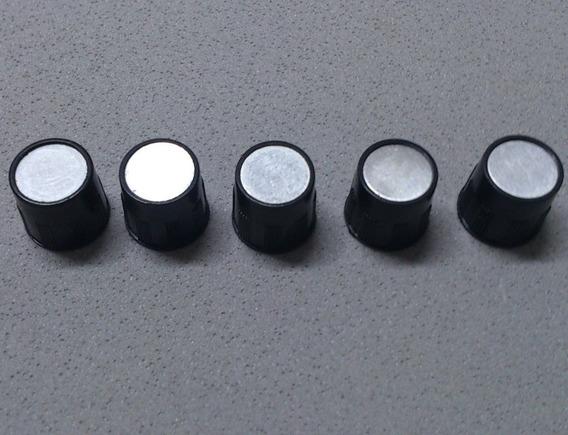 5 Knobs Para Potenciômetro Plastico Preto Sem Seta Lb
