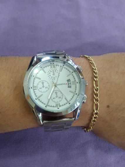 Relógio Masculino E Feminino De Pulso Geneva Prata