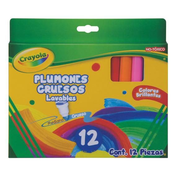 12 Plumones Gruesos Lavables Crayola