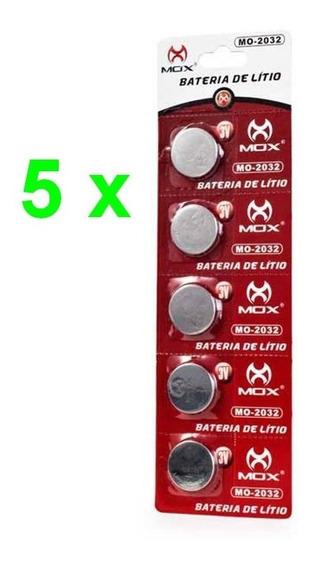 05 Cartelas Total 25 Baterias Litio Mox Cr 2032 3v Lacre