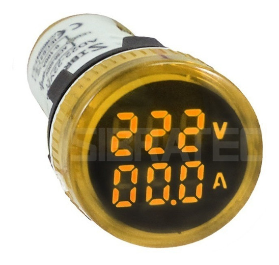 Voltímetro / Amperímetro Digital Amarelo Sibratec