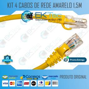 Kit 04 Cabos De Rede Rj45 Pronto 1,5m Amarelo Unico Frete!