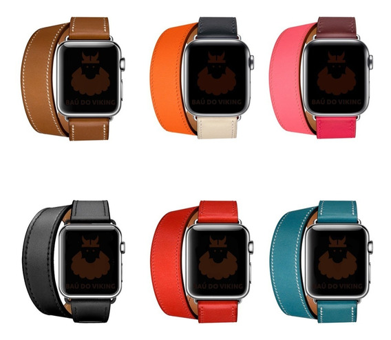 Pulseira Couro Double Tour Para Apple Watch 38mm 42mm 44mm