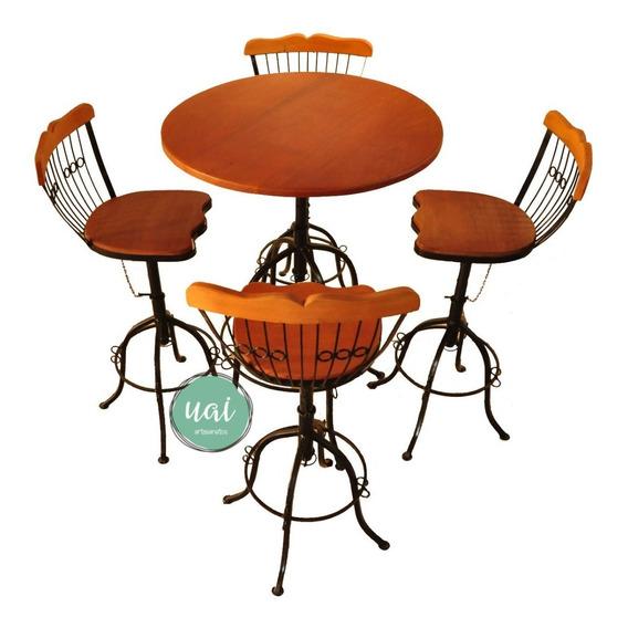 Conjunto Bistrô 4 Cadeira Ferro Madeira Lanchonete Promoção