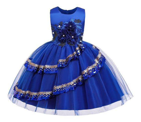 Vestido Fiesta Niña Presentación Cumpleaños Azul Rey Dorado