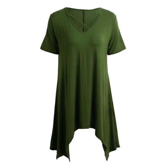 Mujeres Atractivas Camiseta Asimtrica Criss Cruz V Cuello