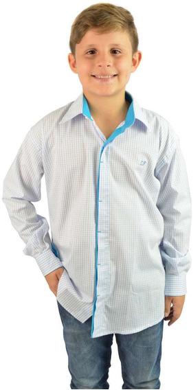 Camisa Social Infantil Quadriculada Branca - Não Perca