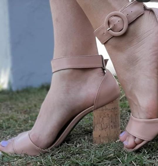 Sandalia Salto Grosso Alto Confortavel 10cm Mega2019