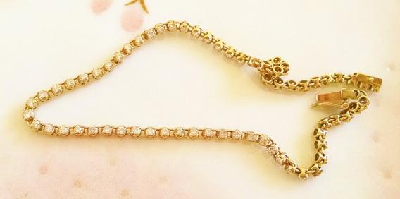 Pulsera De Diamantes Con 1ct En Oro Amarillo Sólido De 9k