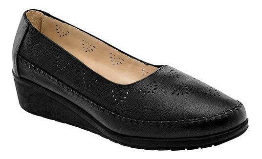 Zapato Piso Cuña 4cm Piel Negro Mujer Capricho D49209 Udt