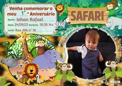 Imagem 1 de 1 de Convite Aniversário Safari Digital
