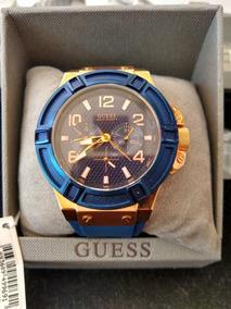 Relógio Guess Azul E Dourado Original!