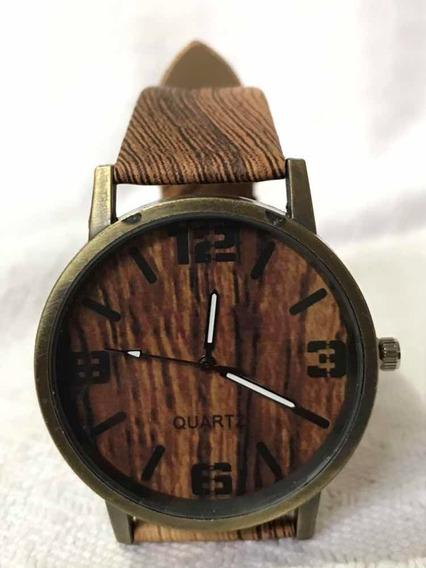 Relógio De Pulso Madeira Casual Quartz Exclusivo