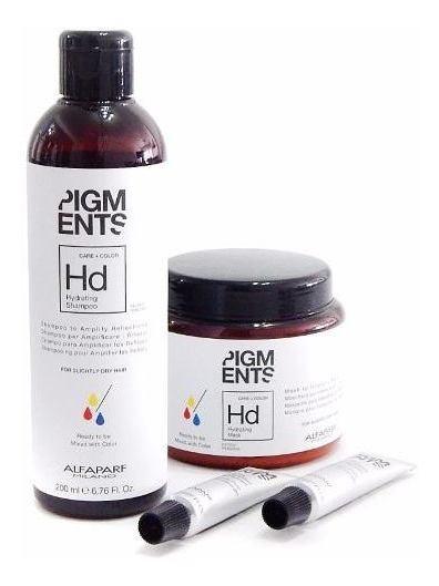 Kit Hidratacion Alfaparf Pigments Shampoo + Masc + Pigmento