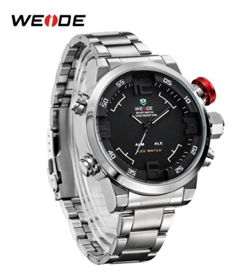 Relógio Weide Luxo 2309 Miyota, Analógico E Digital, 3 Atm