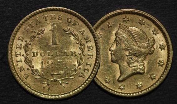 Estados Unidos Moeda Ano 1851, 1 Dollar Ouro 1,6 Gm 13 Mm