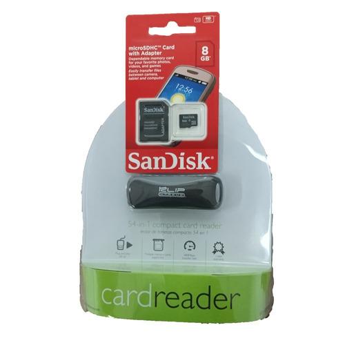 Combo Lector De Tarjetas Klipx Y Microsd 8gb Clase 4 Sandisk