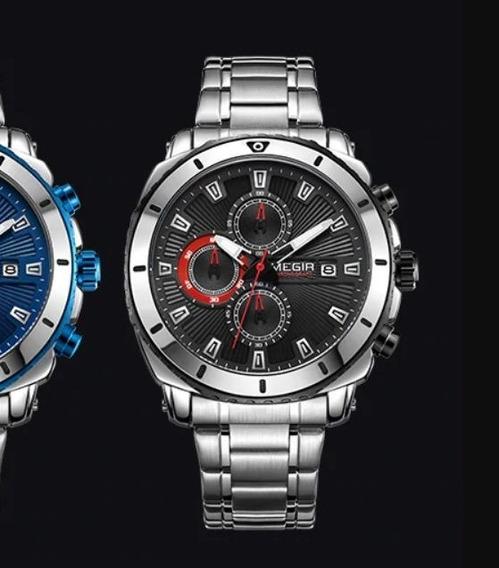 Relógio Megir Importado De Luxo Aço Cronos Todo Funcional