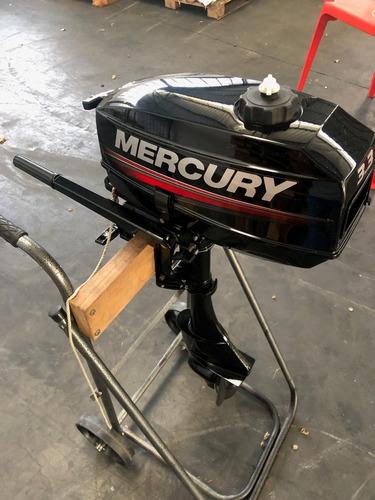 Imagem 1 de 9 de Motor Popa Mercury 3.3 Hp 2t -novissimo - Com Carrinho