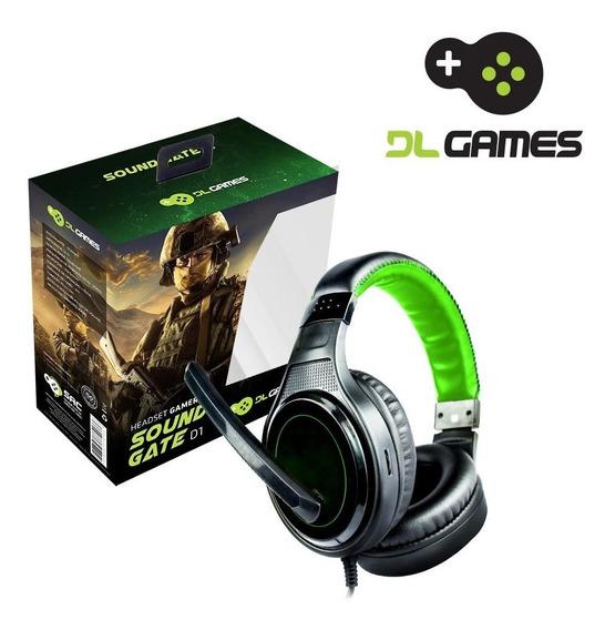 Headset Gamer Dl Games Sound Gate D1, P2, Preto E Verde.