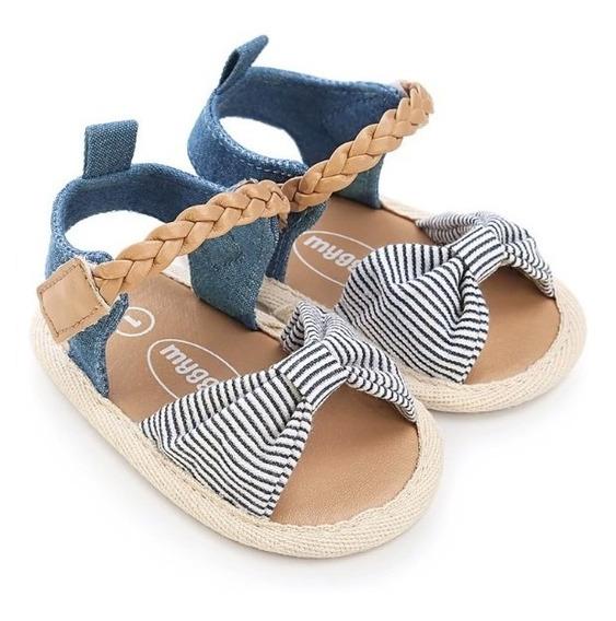Sapato Infantil Menina Sandalia Bebe Laço Listrado