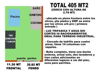 Terreno Con Cerco Para 4 Pisos 405 Mt2 Industrial, Vivienda