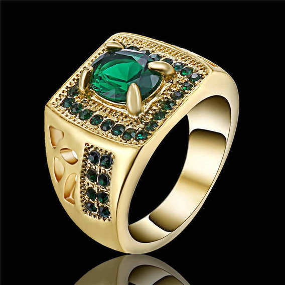 Esmeralda Verde Joia Anel De Noivado Ouro 24k