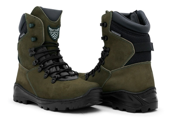 Coturno Militar Bota Airsoft Couro Animal Acero Tiger Musgo