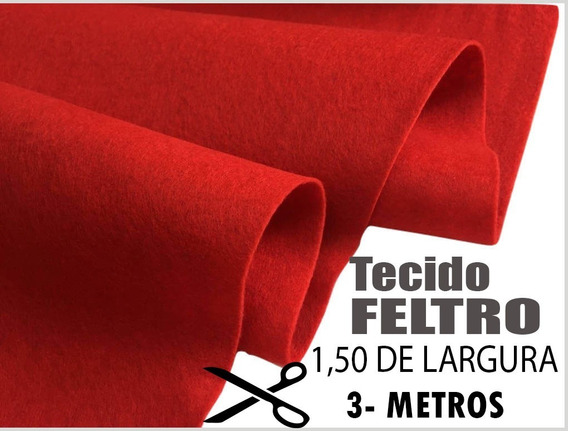 Feltro Tecido Vermelho Artesanato 3 Mts Por 1,50 Largura