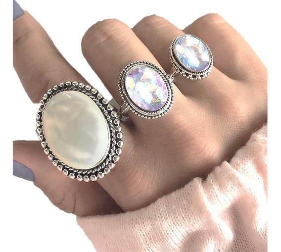 Set De 3 Anillos Fantasía Opal Midi
