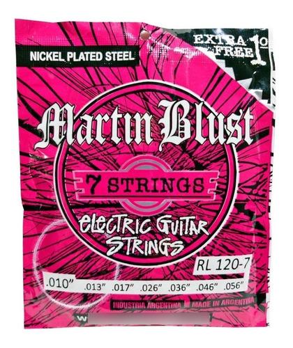 Imagen 1 de 7 de Encordado Guitarra Eléctrica 7 Cuerdas Martin Blust 010