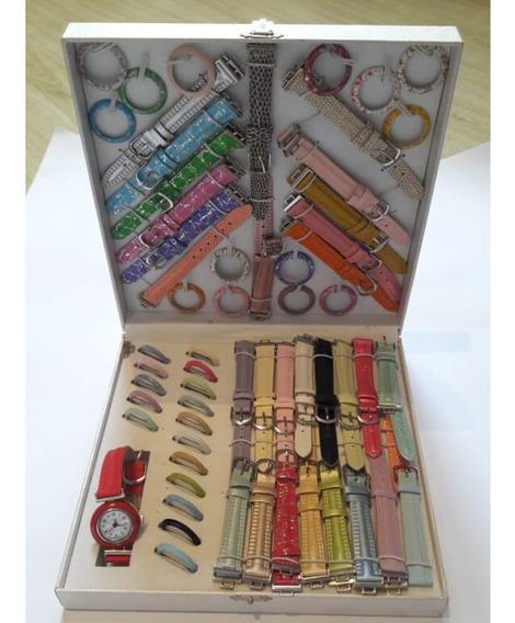 Kit Relógio Feminino Troca Pulseiras Taj Interchangeable