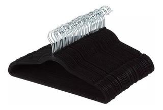 Oferta 50 Ganchos P/ropa De Terciopelo Negro Antiderrapantes