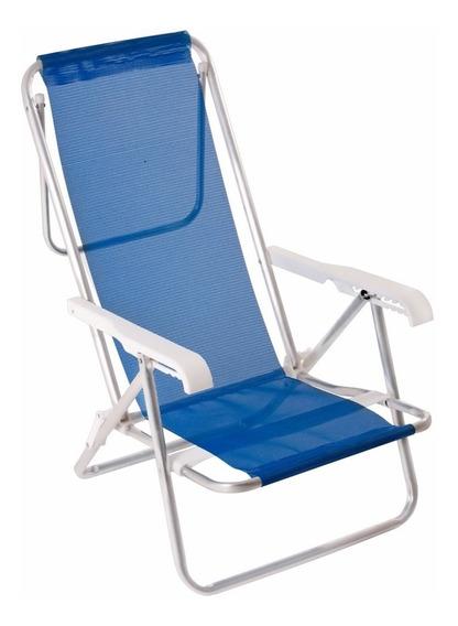 Cadeira De Praia Vira Espreguiçadeira Piscina Alumínio Reclinável 8 Posições Mor